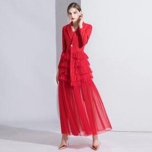 Mode Rouge Robe De Soirée 2020 Princesse V-Cou Manches Longues Longue Volants en Cascade Robe De Ceremonie