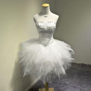 Piękne Białe Sukienki Na Studniówke 2018 Princessa Tiulowe Z Koronki Bez Pleców Frezowanie Homecoming Sukienki Wizytowe