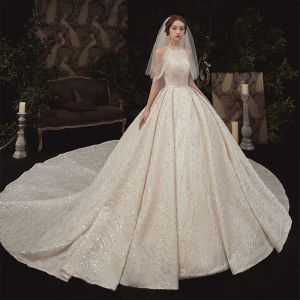 Luxury / Gorgeous Champagne Bridal Wedding Dresses 2020 Ball Gown Scoop Neck Sleeveless Backless Beading Sequins Glitter Tulle Cathedral Train Ruffle
