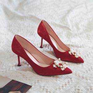 Chinese style Red Pearl Wedding Shoes 2020 Rhinestone 8 cm Stiletto Heels Pointed Toe Wedding Pumps