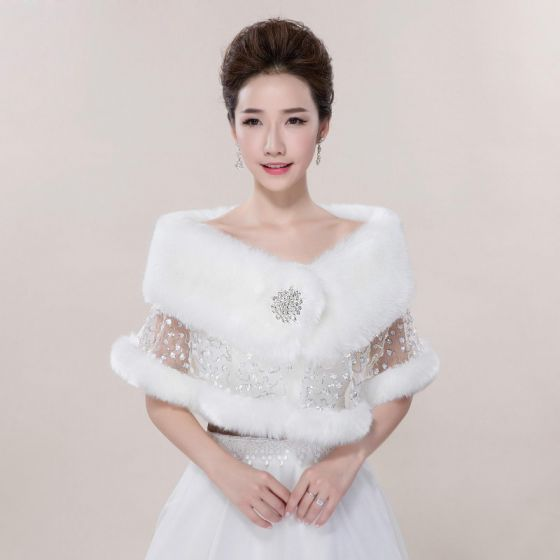 White Winter Lace Sequins Faux Fur Wedding Prom Shawls 2017