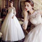 Classy Ivory Wedding Dresses 2019 A-Line / Princess Scoop Neck Pearl Sequins Lace Flower Long Sleeve Backless Bow Sash Floor-Length / Long