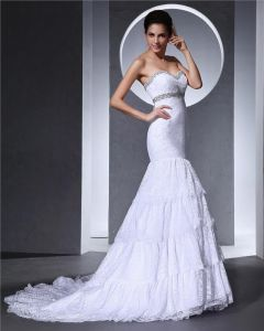 Lace Ruffle Beaded Embroidered Sweetheart Court Mermaid Bridal Gown Wedding Dresses