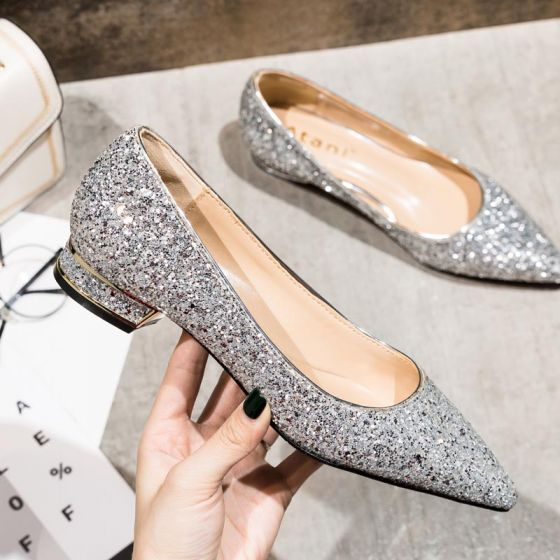 Charming Silver Wedding Shoes 2020 Sequins Pointed Toe Flat Wedding Pumps