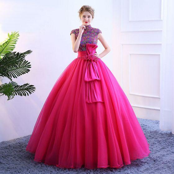 36d740290 Vintage Fucsia Vestidos de gala 2019 Ball Gown Cuello Alto Con Encaje Flor  Lentejuelas Bowknot Manga ...