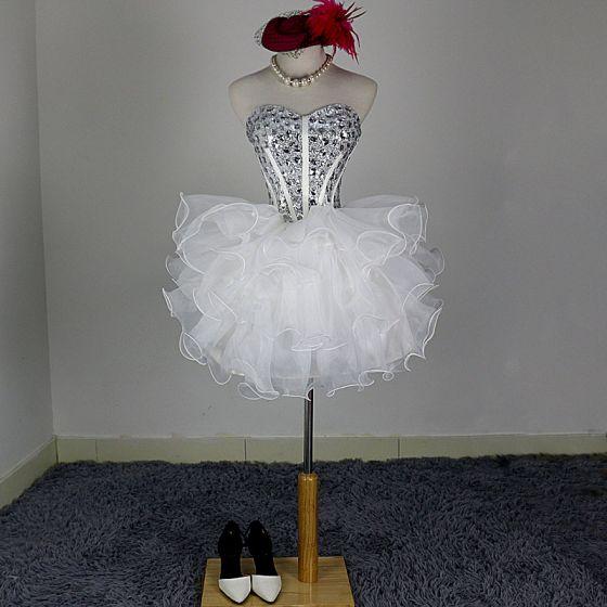 Bling Bling Kość Słoniowa Organza Sukienki Koktajlowe 2018 Suknia Balowa Kochanie Bez Rękawów Bez Pleców Rhinestone Krótkie Kaskadowe Falbany Sukienki Wizytowe