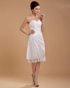 Taft Rüschen Blumen Liebsten Kurz Brautkleider Hochzeitskleid