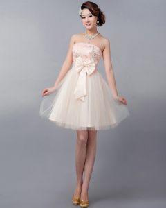 Schleifenapplikation Dekoration Strapless Knielangen Tüll Brautjungfernkleid