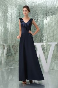 2015 Elegant A-line V-neck Shoulders Ruffle Long Bridesmaid Dress