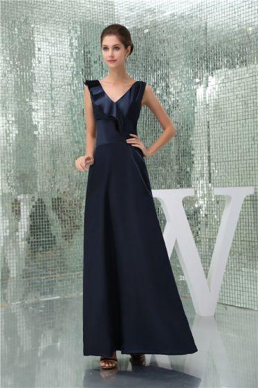 2015 Elegant A-line V-neck Shoulders Ruffle Long Bridesmaid Dress