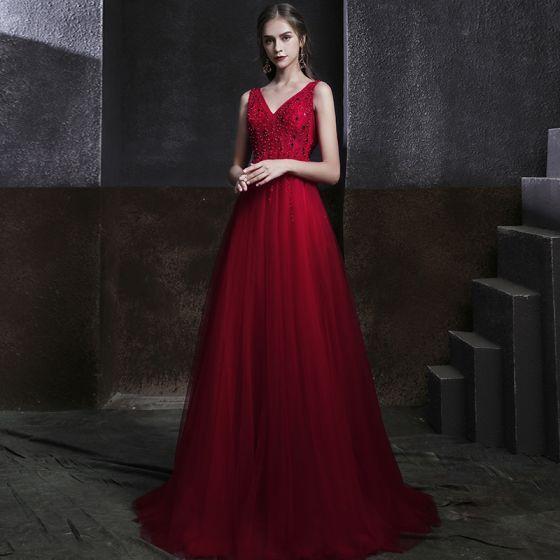 Eleganckie Burgund Sukienki Wieczorowe 2020 Imperium V-Szyja Bez Rękawów Frezowanie Cekiny Długie Wzburzyć Bez Pleców Sukienki Wizytowe
