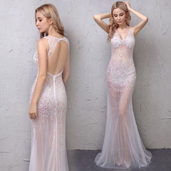Sexy Blanco Transparentes Vestidos de noche 2019 Trumpet / Mermaid Rhinestone V-Cuello Sin Mangas Sin Espalda Colas De La Corte Vestidos Formales