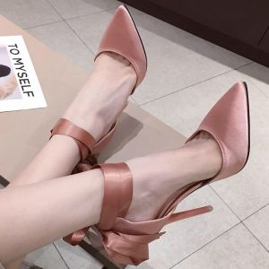 Modest / Simple Nude Street Wear Womens Shoes 2020 Ankle Strap Bow 11 cm Stiletto Heels Pointed Toe Heels