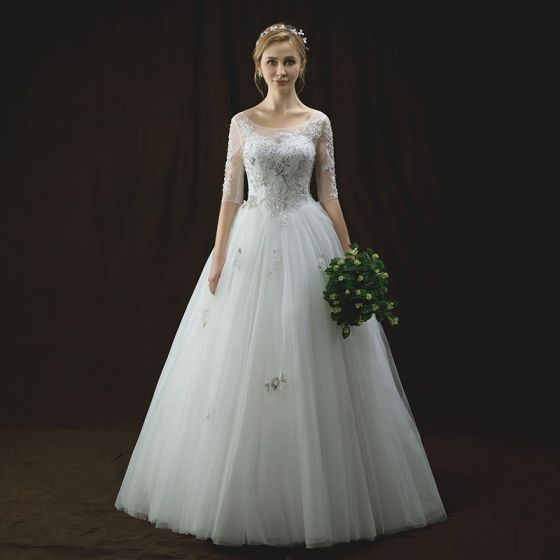 Chic / Beautiful Ivory Pierced Wedding Dresses 2018 A-Line / Princess Scoop Neck 1/2 Sleeves Backless Appliques Lace Sequins Pearl Beading Floor-Length / Long Ruffle