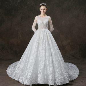 Iluzja Białe Przezroczyste Suknie Ślubne 2019 Princessa Wycięciem Długie Rękawy Aplikacje Z Koronki Perła Frezowanie Trenem Katedra Wzburzyć