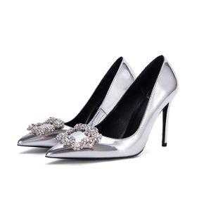 Modern Bruidsschoenen 2017 Kristal Rhinestone Zilveren Lakleer Naaldhakken / Stiletto Pumps Damesschoenen
