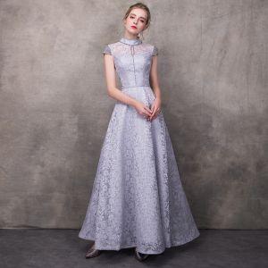 Vintage / Retro Grey Evening Dresses  2018 A-Line / Princess High Neck Cap Sleeves Beading Sash Ankle Length Ruffle Backless Formal Dresses