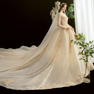 Chic / Beautiful Champagne See-through Wedding Dresses 2020 Ball Gown Scoop Neck 3/4 Sleeve Backless Glitter Tulle Appliques Lace Beading Cathedral Train Ruffle