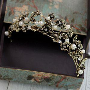 Vintage Khaki Bridal Jewelry 2017 Metal Beading Crystal Rhinestone Headpieces Prom Accessories