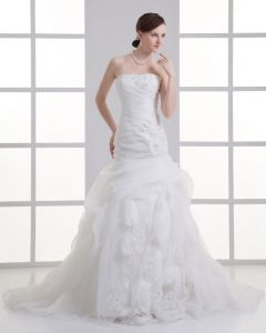 Organza Flower Ruffle Beading Strapless Court Train Mermaid Wedding Dress