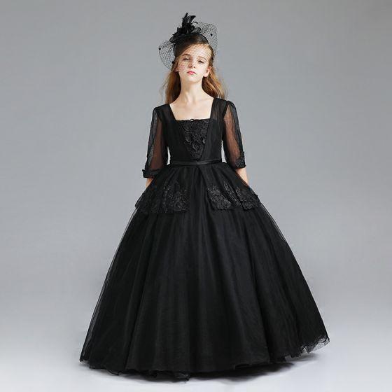 Schöne Schwarz Mädchenkleider 2017 Ballkleid Eckiger Ausschnitt 3/4 Ärmel Applikationen Mit Spitze Stoffgürtel Lange Kleider Für Hochzeit