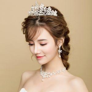 Chic / Beautiful Silver Bridal Jewelry 2017 Metal Beading Crystal Handmade  Wedding Prom Accessories
