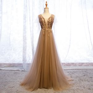 Elegant Champagne Evening Dresses  2019 A-Line / Princess V-Neck Beading Rhinestone Appliques Lace Flower Short Sleeve Backless Sweep Train Formal Dresses