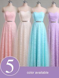 Elegancki Koronki Sukienki Dla Druhen Z Szarfą Rhinestone 5 Kolorów Dostępnych