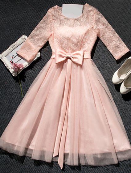 Belle Robe De Ceremonie Rose Robe En Dentelle Courte Avec Bowknot Ceinture