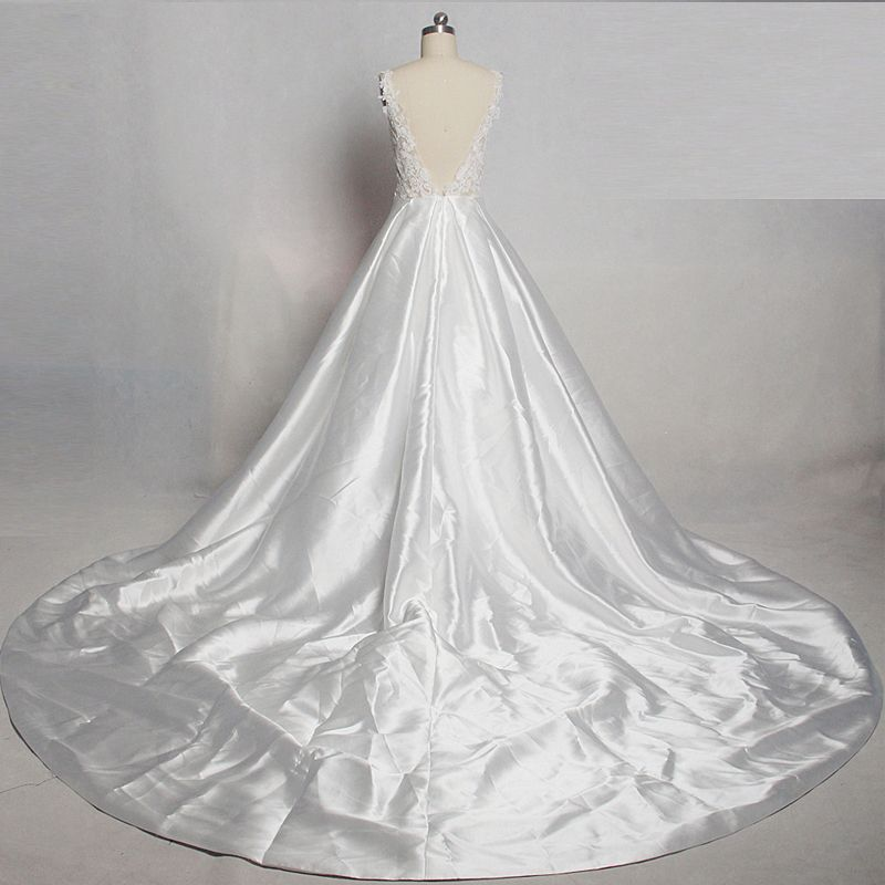 Modern / Fashion Ivory Wedding Cathedral Train 2018 Charmeuse U-Neck See-through Lace-up Backless Pierced Empire Wedding Dresses
