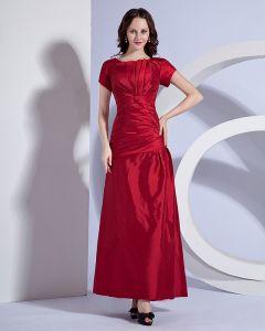Taft Geplooide Ronde Hals Vloerlengte Bruidsmeisjes Jurken