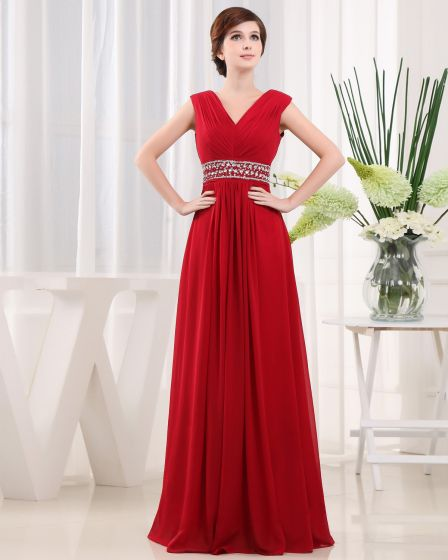 V Neck Ruffle Beading Sleeveless Zipper Floor Length Chiffon Woman Evening Party Dress