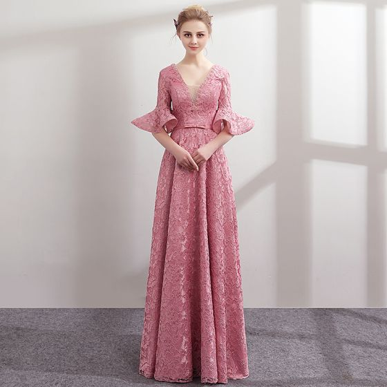 Modern / Fashion Candy Pink Lace Evening Dresses 2018 A-Line ...