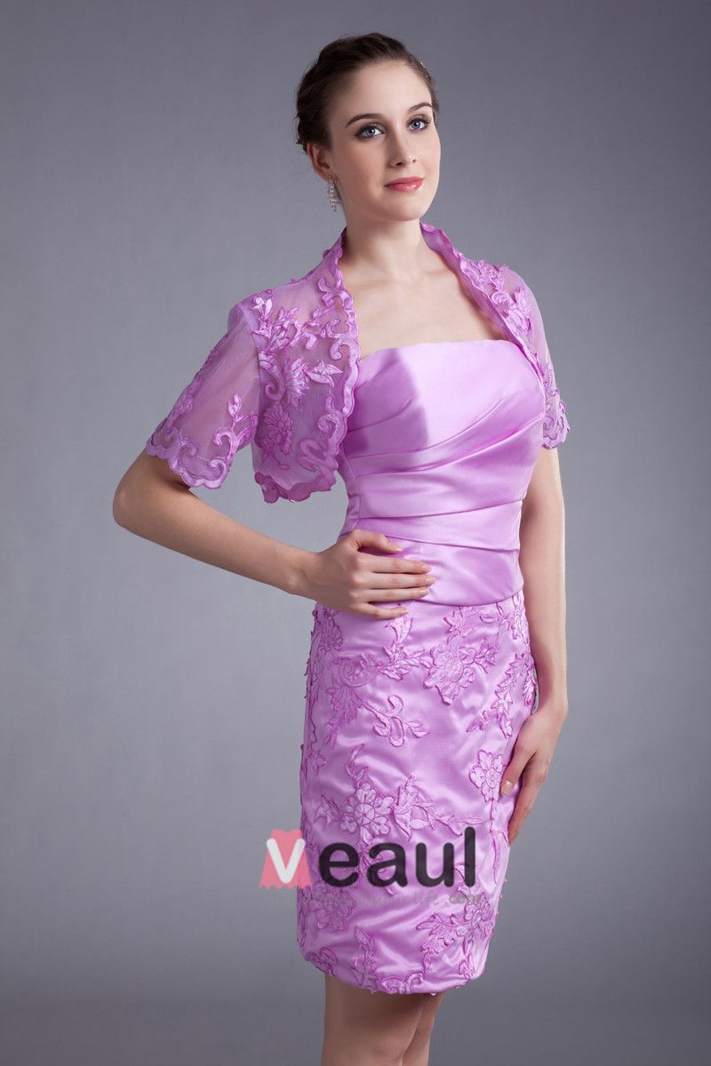 Satin Tulle Flower Strapless Mini Mother Of The Bride Dress