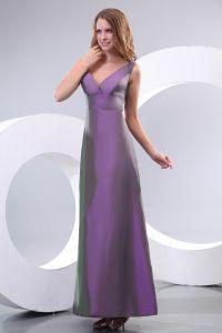 2015 Schöne Bodenlangen A-linie Mit V-ausschnitt Lila Brautjungfernkleid