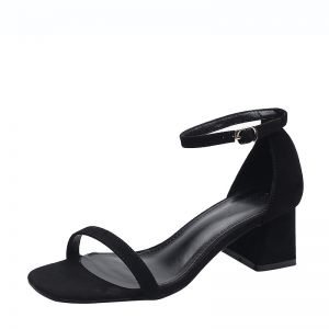 Chic / Beautiful Black Casual Suede Womens Sandals 2020 Ankle Strap 5 cm Thick Heels Open / Peep Toe Sandals