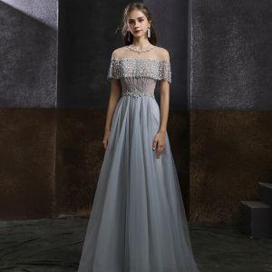 Eleganta Grå Genomskinliga Balklänningar 2020 Prinsessa Urringning Korta ärm Beading Paljetter Långa Ruffle Halterneck Formella Klänningar
