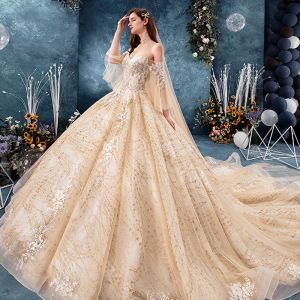 Luxury / Gorgeous Champagne Wedding Dresses 2019 Ball Gown Off-The-Shoulder Bell sleeves Backless Appliques Lace Beading Rhinestone Glitter Tulle Cathedral Train Ruffle