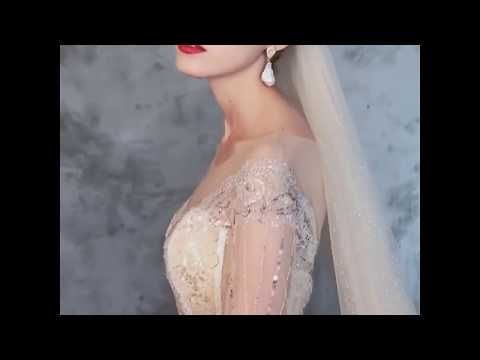 Sparkly Champagne See-through Wedding Dresses 2019 Ball Gown Scoop Neck 3/4 Sleeve Backless Sequins Beading Cathedral Train Ruffle