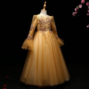 Chic / Beautiful Yellow Flower Girl Dresses 2017 A-Line / Princess Leaf Beading Pearl Scoop Neck Backless Long Sleeve Ankle Length Wedding Party Dresses