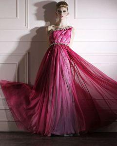 Silk Charmeuse One Shoulder Neckline Bead Floor Length Evening Dress