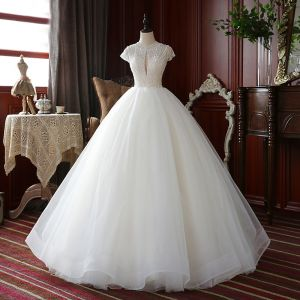 High-end Champagne Outdoor / Garden Wedding Dresses 2020 Ball Gown Scoop Neck Short Sleeve Backless Handmade  Beading Floor-Length / Long Ruffle