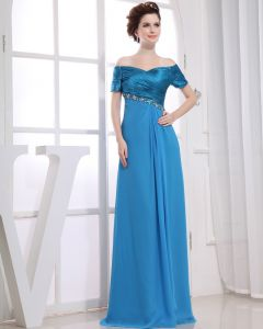 Strapless Short Sleeve Zipper Floor Length Beading Pleated Chiffon Woman Evening Dresses