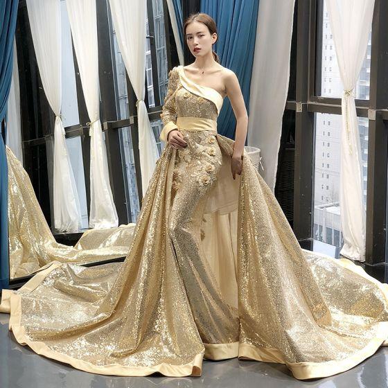 Sparkly Gold Sequins Red Carpet Evening Dresses  2020 A-Line / Princess One-Shoulder Long Sleeve Sash Appliques Flower Beading Chapel Train Ruffle Backless Formal Dresses