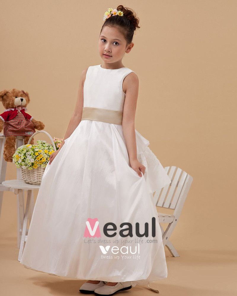 Satin Lace-up Sash Flower Girl Dresses