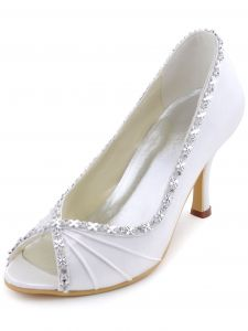 Satin Wedding Shoes Custom-made Shoes, Fish Head Diamond Chain Folds Sweet Side Party Shoes