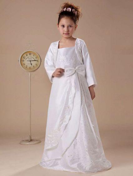 Vit Långa Ärmar Applikationer Satin Barnklänningar Brudnäbbsklänning