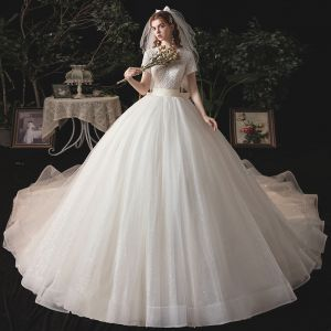 Vintage / Retro Ivory Bridal Wedding Dresses 2020 Ball Gown V-Neck Short Sleeve Backless Beading Glitter Tulle Sash Chapel Train Ruffle
