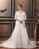 Lace Applique Beading V Neck Plus Size Bridal Gown Wedding Dress