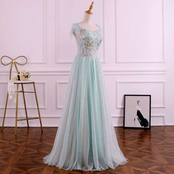 Chic / Beautiful Sage Green Evening Dresses  2019 A-Line / Princess Square Neckline Pearl Sequins Lace Flower Sleeveless Backless Floor-Length / Long Formal Dresses